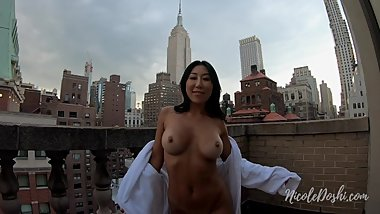 Chinese Girl Fucking in Public in Front of Empire State Building POV Sex