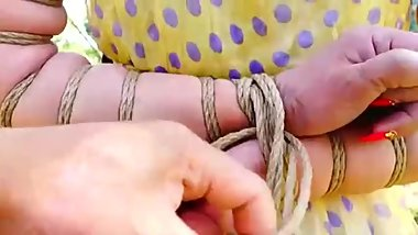 Asian Girls Bound and Gagged china rope bondage shibari outdoor public