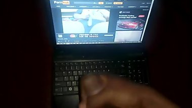 Masturbating to my step sister's porn video