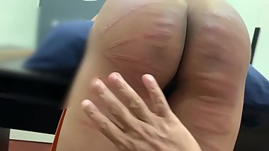 Asian girl with big ass gets a hard caning